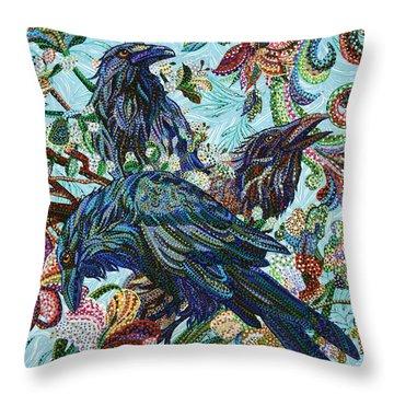 Birds Of A Feather Throw Pillow by Erika Pochybova