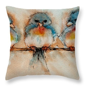 Throw Pillow featuring the painting Birds Of A Feather by Jani Freimann