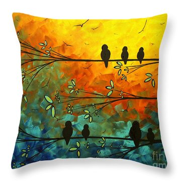 Birds Of A Feather Original Whimsical Painting Throw Pillow by Megan Duncanson