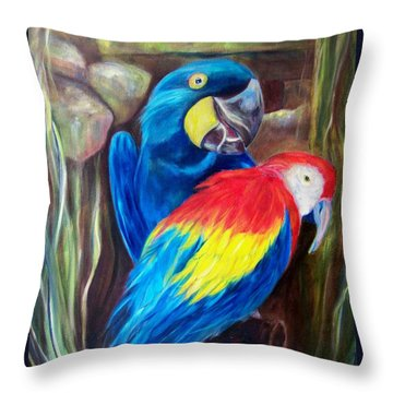 Bird's Of A Feather, Macaws Throw Pillow
