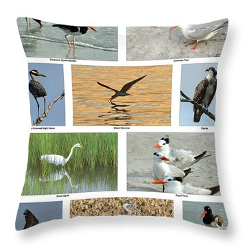 Birds Of North Carolina Coast Throw Pillow