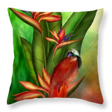 Birds Of Paradise Throw Pillow by Carol Cavalaris