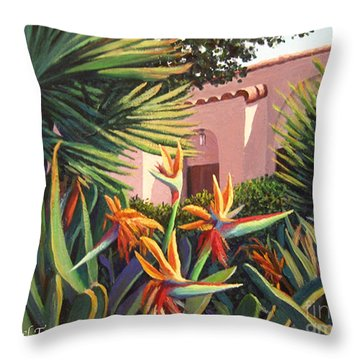 Throw Pillow featuring the painting Birds Of Paradise Garden by Cheryl Del Toro
