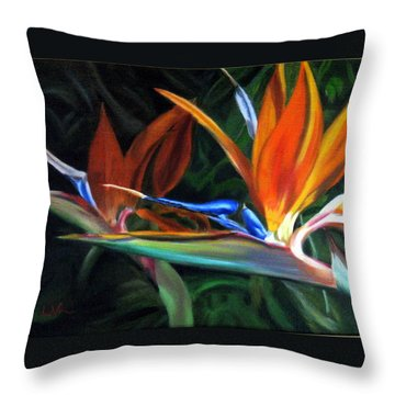 Throw Pillow featuring the painting Birds Of Paradise by LaVonne Hand