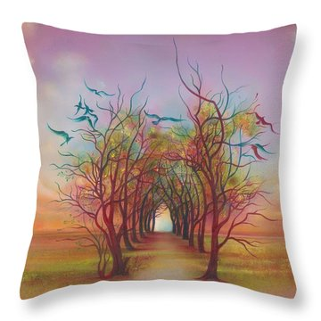 Throw Pillow featuring the painting Birds Of Rainbow Mist by Anna Ewa Miarczynska