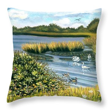 Birds Of Summer At Gateway Throw Pillow