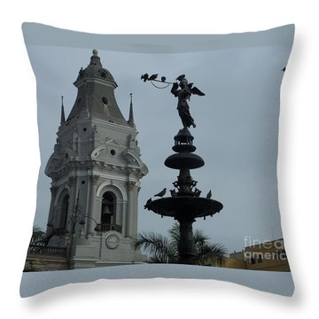 Birds On Fountain Throw Pillow