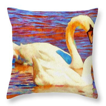 Birds On The Lake Throw Pillow by Jeff Kolker