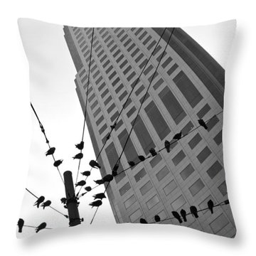 Birds Station Throw Pillow by Jonathan Nguyen
