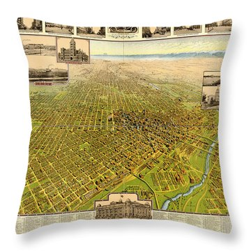 Birdseye Map Of Denver Colorado - 1908 Throw Pillow by Eric Glaser
