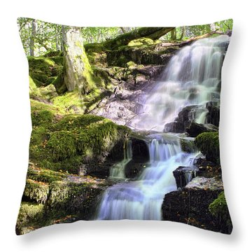 Birks Of Aberfeldy Cascading Waterfall - Scotland Throw Pillow by Jason Politte