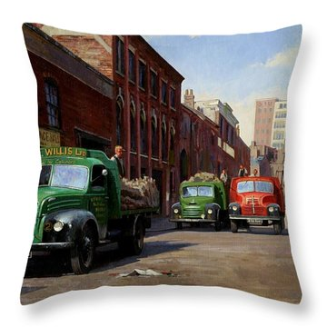 Birmingham Fruit And Veg Market. Throw Pillow by Mike  Jeffries