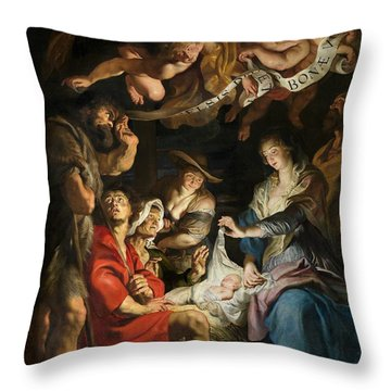 Birth Of Christ Adoration Of The Shepherds Throw Pillow by Peter Paul Rubens