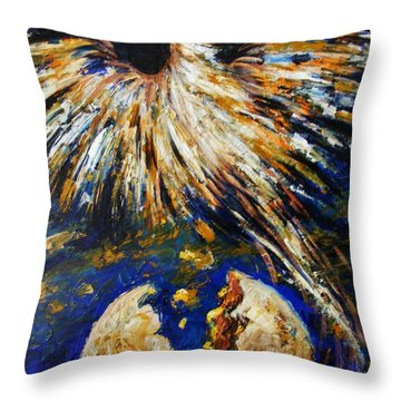Throw Pillow featuring the painting Birth Of The Phoenix by Karen  Ferrand Carroll