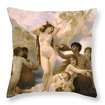Birth Of Venus Throw Pillow by William Bouguereau
