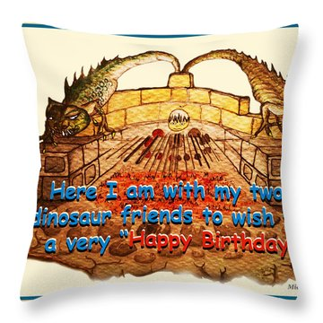 Birthday Card Dinosaur Friends Throw Pillow