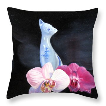 Throw Pillow featuring the painting Birthday Party Cat by LaVonne Hand