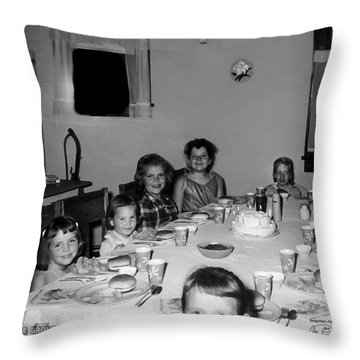 Birthday Party Table Grove Illinois 1957 Throw Pillow