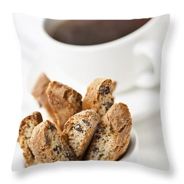 Biscotti And Coffee Throw Pillow by Elena Elisseeva