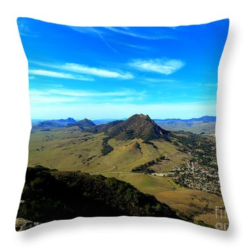 Bishops Peak And Her Sisters Throw Pillow by Paul Foutz