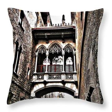 Bishop's Street - Barcelona Throw Pillow by Juergen Weiss