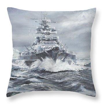 Bismarck Off Greenland Coast  Throw Pillow