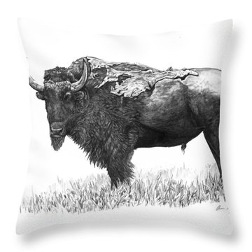 Bison Throw Pillow by Aaron Spong