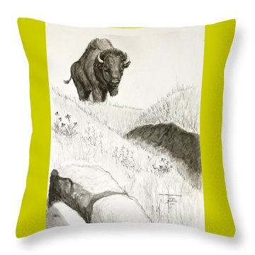 Bison Approach Throw Pillow