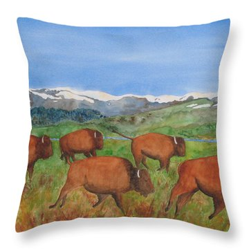 Bison At Yellowstone Throw Pillow by Patricia Beebe