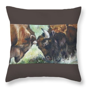 Bison Brawl Throw Pillow