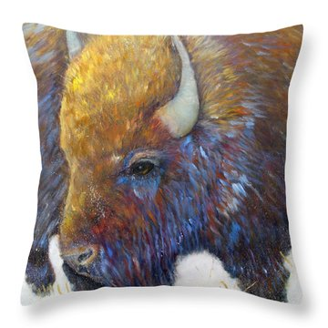 Bison Throw Pillow by Loretta Luglio