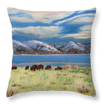 Bison On Antelope Island Throw Pillow