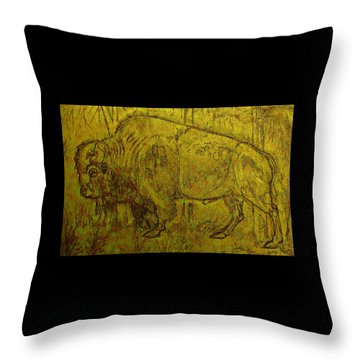 Golden  Buffalo Throw Pillow