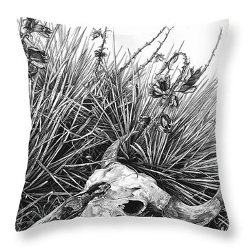 Throw Pillow featuring the painting Bison Skull by Aaron Spong