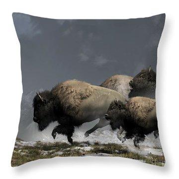 Bison Stampede Throw Pillow by Daniel Eskridge