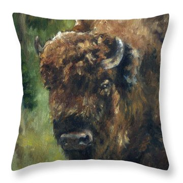 Bison Study - Zero Three Throw Pillow