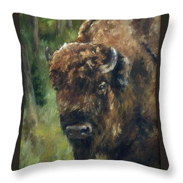 Bison Study - Zero Three Throw Pillow by Lori Brackett