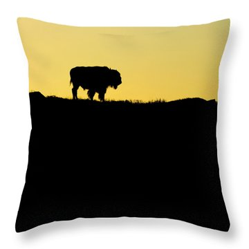 Throw Pillow featuring the photograph Bison Sunrise by Sonya Lang