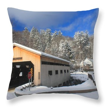 Bissell Covered Bridge In Winter Throw Pillow by John Burk