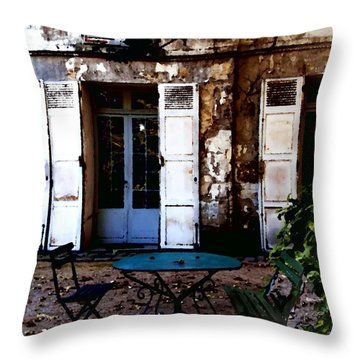 Throw Pillow featuring the photograph Bistro Table In Montmartre by Jacqueline M Lewis