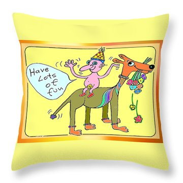 Throw Pillow featuring the painting Bit Of Fun by Hartmut Jager