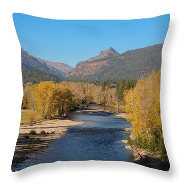 Bitterroot River Fall Throw Pillow