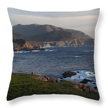 Bixby Bridge And Cows Throw Pillow by Mike Reid