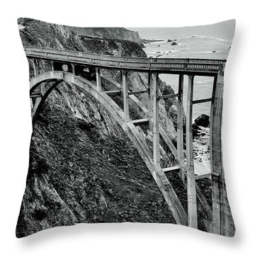 Bixby Creek Bridge Black And White Throw Pillow by Benjamin Yeager