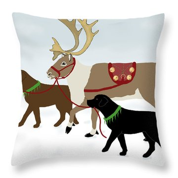 Black And Chocolate Labs Lead Reindeer Throw Pillow