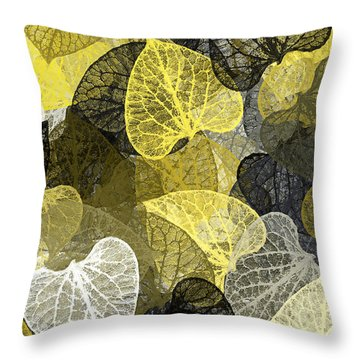 Black And Gold Leaf Pattern Throw Pillow
