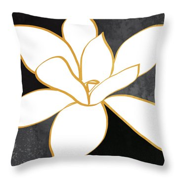 Black And Gold Magnolia- Floral Art Throw Pillow