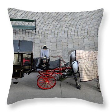 Throw Pillow featuring the photograph Black And Red Horse Carriage - Vienna Austria  by Imran Ahmed