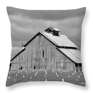 Throw Pillow featuring the photograph Black And White Barn by Debby Pueschel