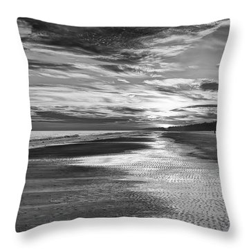Black And White Beach Throw Pillow by Phill Doherty